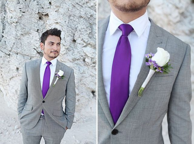 gray suit with purple ties