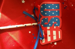 USA with ribbon and straw